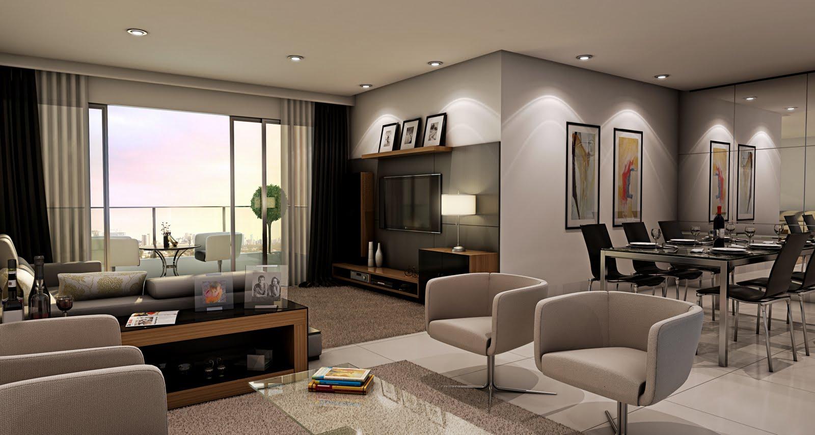 Sala De Estar Bege ~ Apartamento amplo integrando sala de estar, sala de jantar e varanda